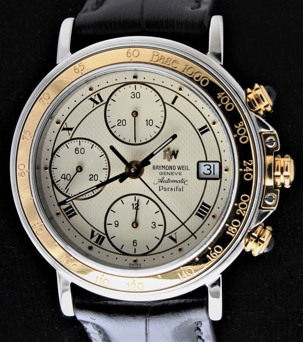 """Raymond Weil - """"Parfisal"""" - 18K Yellow Gold - Swiss Automatic Chronograph - Excellent Condition - Ref. No: 7789 - Uomo - 1990-1999"""