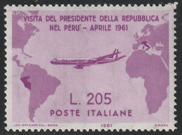 Italienische Republik 1961 - Gronchi Rosa 205 l. pink lilac, centred, intact, rare and certified - no reserve - Sassone N.921