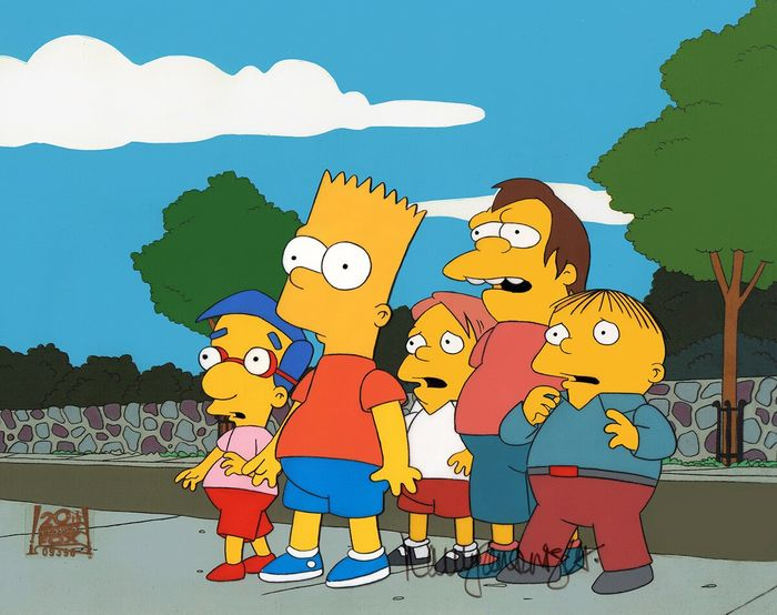 """The Simpsons - """"Bart After Dark"""" (1996) - Original Animation Cels, signed by Nancy Cartwright!"""