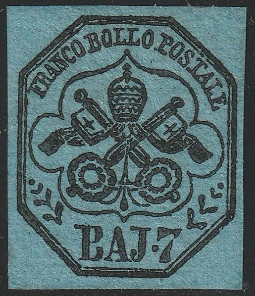 Italiaanse oude staten - Pauselijke Staat 1852 - 1st issue 7 baj light blue with very good margins, luxury, very rare and certified - no reserve - Sassone N.8