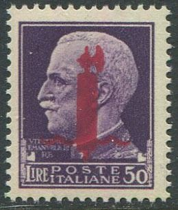 Italië 1944 - RSI L. 50 with overprint of the fasces of Florence in lilac carmine. - Sassone N. 500/I