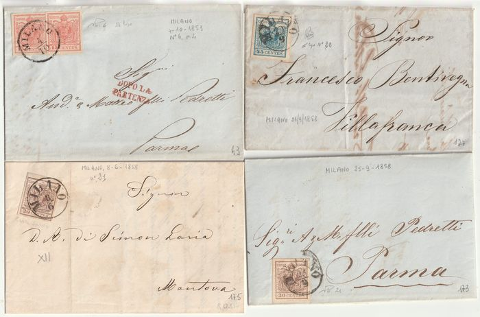 Antikke italienske stater - Lombardo Veneto 1850/54 - 1st issue 4 covers with stamps with very good margins, beautiful - No Reserve - Sassone NN.6+21+22