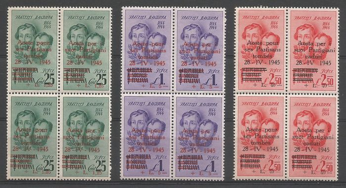 """Italie 1945 - Local issues - Aosta complete set in blocks of four """"Bandiera brothers"""" - CEI NN. 1/6"""