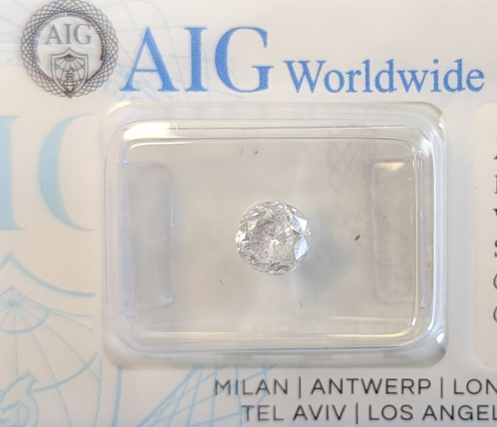 1 pcs Diamante - 1.02 ct - Redondo - G - I2, - No Reserve Price
