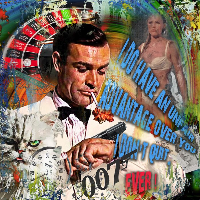 James Bond - Sean Connery - Original Luc Best - Limited Edition - Kunstwerk 60x60x4 cm on Aludibond - Framed - Catawiki Exclusive