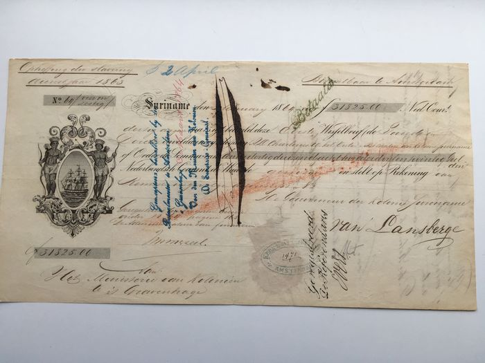 Bill of exchange of slaves - Ministry of the Colonies Suriname - 1863