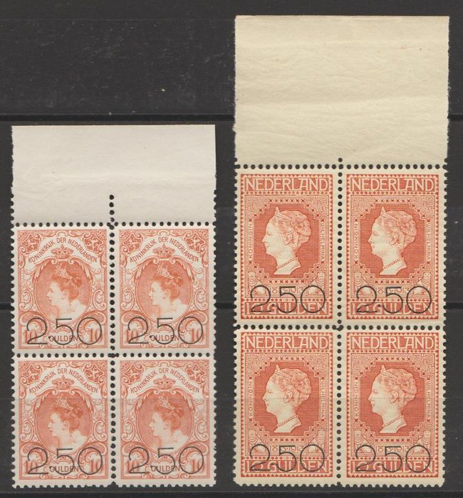 Niederlande 1920 - Clearance issue in blocks of four - NVPH 104/105