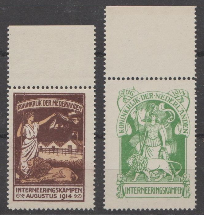 Pays-Bas 1916 - Internment camp stamps - NVPH IN1 + IN2