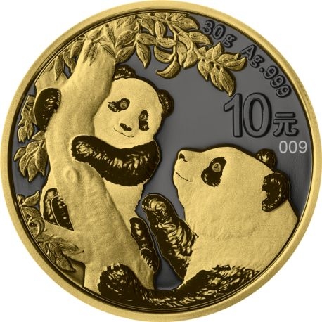 China. 10 Yuan 2021 'Panda - Golden Ring - Yellow Gold & Ruthenium plated' - with Box and Certificate