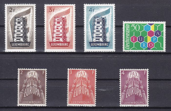 Luxembourg 1956/1960 - Europa stamps with high denomination