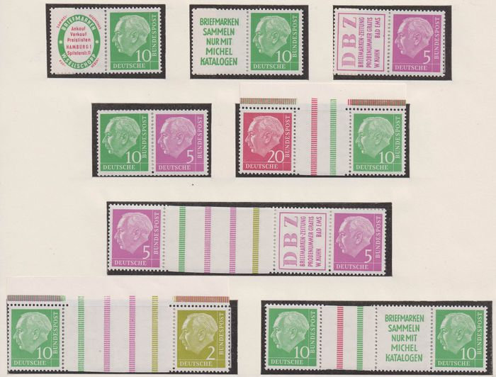 """Germany - Federal Republic 1955/1960 - """"Heuss"""" collection of se-tenants - Michel"""