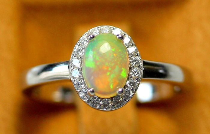 Birthstone October - Natural Opal Ring - 925 Silver - Polished - 2.1 g
