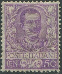 Italy Kingdom 1901 - Floral 50 cents mauve. - Sassone N. 76