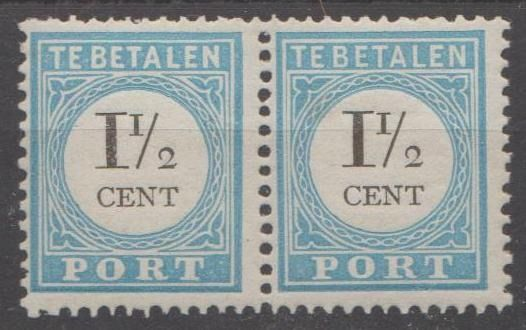 Netherlands 1881/1889 - Postage due stamps with numeral and denomination in black in a horizontal pair - NVPH P4B type II, P4B type III