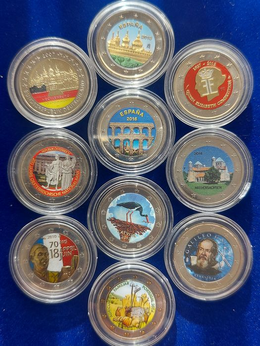 Europa. 2 Euro 2007/2016 Commemorative (10 pieces) with color