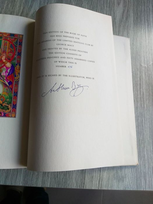 Signed; Mary Ellen Chase & Arthur Szyk - Book of Ruth - 1947