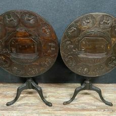 Pair of tinted natural wood pedestal tables representing Noah's Arc before and after - Wood - Around 1850