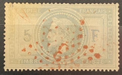 Frankreich - 5 francs purple-grey, Empire with laurel crown, postmarked star '3' in RED, rare as well! - Yvert 33