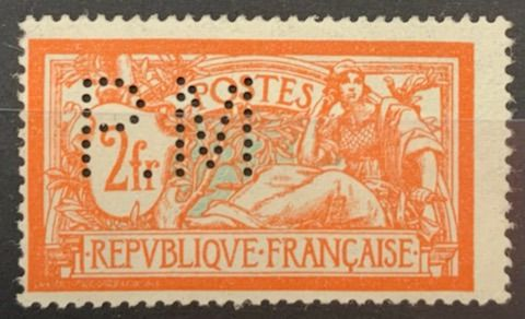 Frankreich - 2 francs Merson orange perforated 'P.M.', very unusual as well! and VF - Yvert 145