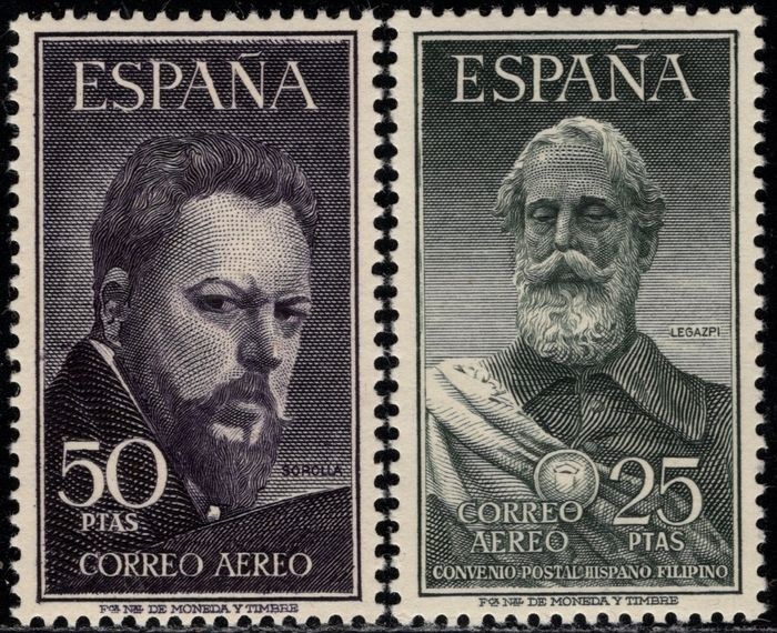 Spanje 1953 - Legazpi and Sorolla. Complete and well centred set. - Edifil 1124/1125