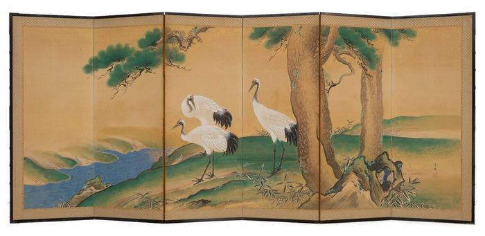 Byobu, Pantalla plegable - Madera, Papel - Grulla - 6 panel middle size screen with a painting of 3 crane birds looking down from a hill on a river - Japón - Periodo Meiji (1868 -1912)