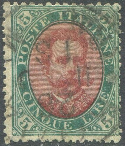 Royaume d'Italie 1879 - Umberto I, 5 lire green and red, cancelled - Sassone N. 49