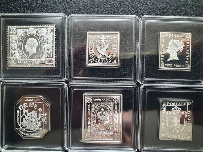 1) Russland, Staatswappen 3.50 Ruble, 1884 2) Mauritius, Two pence 3) Tuscany, 3 Lire Italiane, - The world's most precious stamps in pure silver