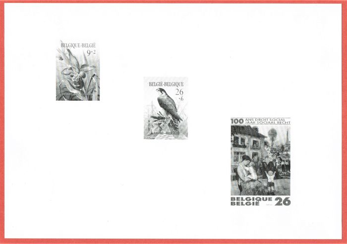 Belgium 1987 - The black & white sheet Cat.value: €150 Very small print run - OBP / COB 2244 2246 & 2263