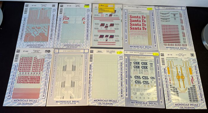 Microscale Decals/A-Line H0 - Decals - Attachments - For US locomotives and containers - U.P./Santa Fe/CSX/CSL/BN America/Penn Central/W.P./ & other