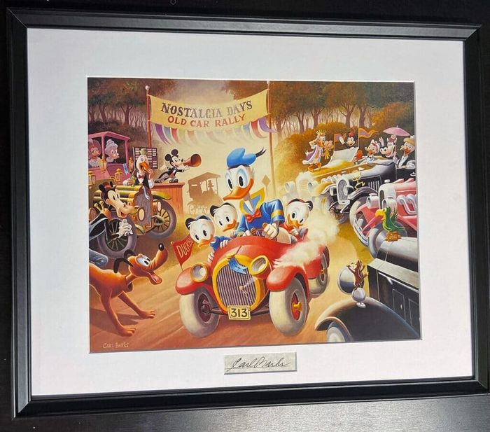 Framed and matted Carl Barks print with signature insert. No reserve! - A 1934 Belchfire Runabout - Ensipainos - (1996)