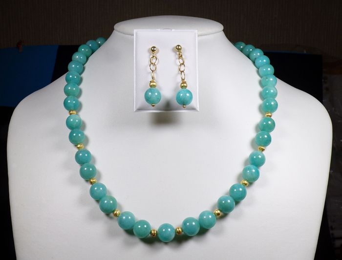 Amazonite Necklace - Silver gold plated - 62.5 g