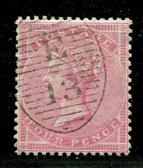 Iso-Britannia 1857 - 4 pence rose-carmine THICK PAPER - Stanley Gibbons 66b