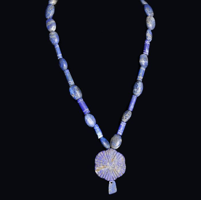 Near Eastern-Western Asiatic Lapis Lazuli Restrung Necklace with Pendant
