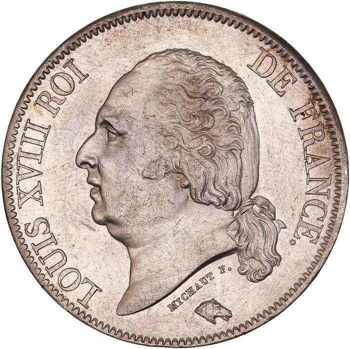 France. Louis XVIII (1814-1824). 5 Francs 1822-A, Paris