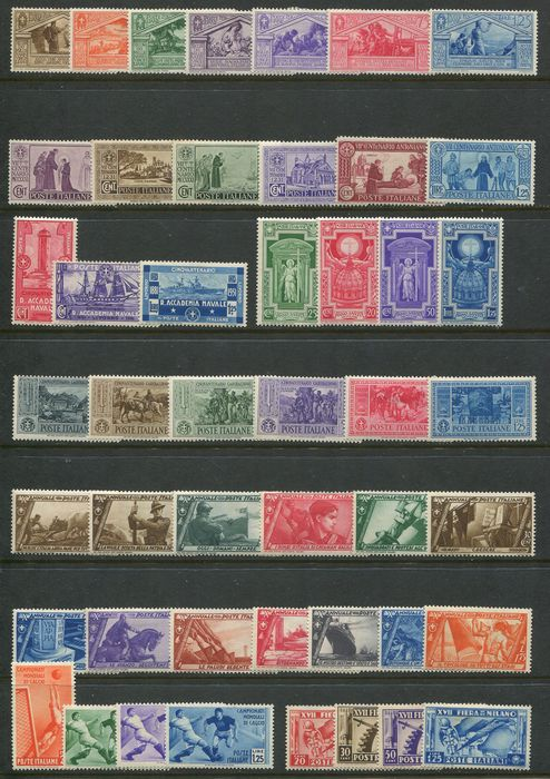 Royaume d'Italie - Small collection of 76 commemorative stamps of the period.