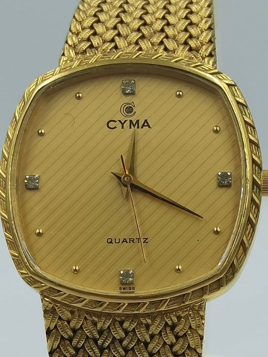 """Cyma - Le Locle Diamonds Full Gold Plated - """"NO RESERVE PRICE"""" - Herren - 1980-1989"""