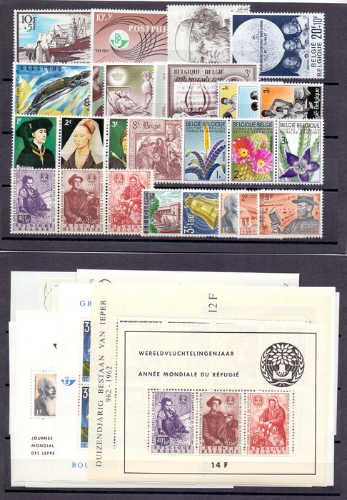 Belgium 1960/1969 - Ten complete years with blocks and stamps from blocks (without booklets) - OBP / COB 1121/1522 + BL32/46