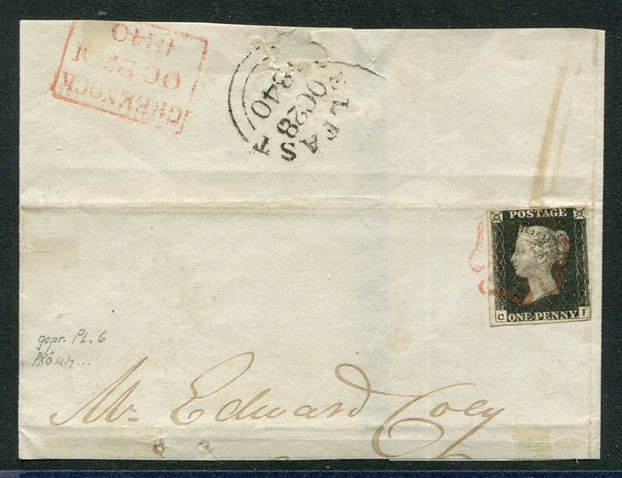 Großbritannien 1840 - Beautiful Penny black on letter part with red Maltese Cross - Stanley Gibbons 2