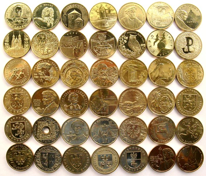 Poland. 2 Zlotych 2001/2005 UNC (42 different coins)