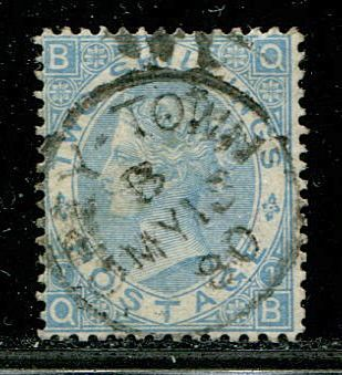 Iso-Britannia 1867 - 2 shilling milky blue USED ABROAD GREY-TOWN, NICARAGUA - Stanley Gibbons 120b