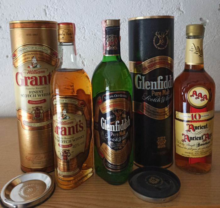 Glenfiddich Special old Reserve - Glen Grant Family Reserve - Ancient Age 10 years old - 70cl, 75cl - 3 sticle