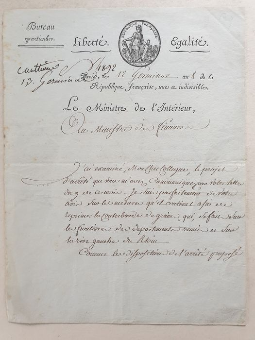Lucien Bonaparte - Signed letter by Lucien Bonaparte to the Ministries of the Interior and Finance - 1800