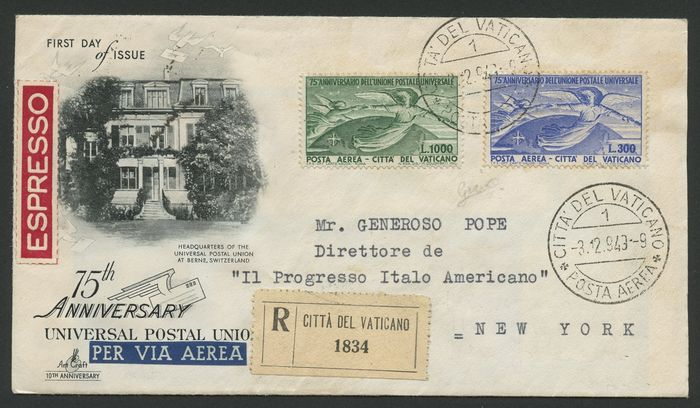 Cité du Vatican 1943 - 75th anniversary of U.P.U. - complete set on registered express mail circulated on 3.12.43 to New - Sassone N. 18-19