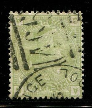 Iso-Britannia 1877 - 4 pence sage-green plate 16 WATERMARK INVERTED - Stanley Gibbons 153Wi