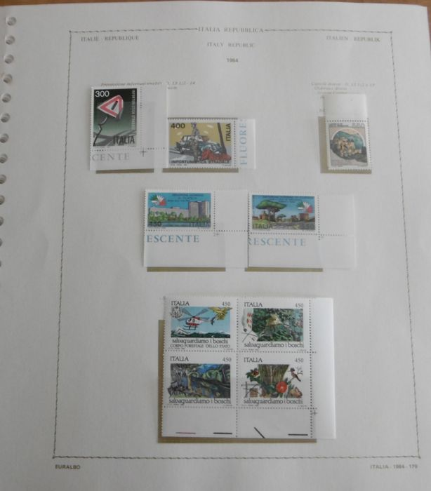 République d'Italie 1984/1993 - Complete collection mounted on Euralbo leaves - Sassone NN. 1662/2087