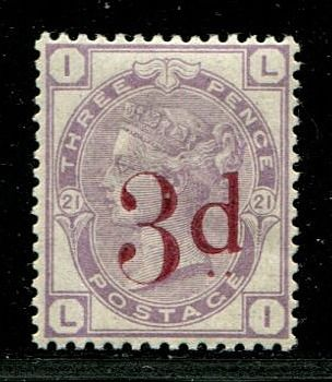 Iso-Britannia - Englanti 1883 - 3d on 3d lilac UNMOUNTED MINT - Stanley Gibbons 159