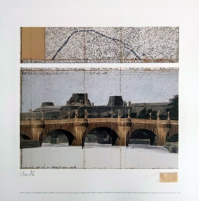 """Christo and Jeanne-Claude - """"The Pont Neuf"""" offset lithograph hand signed with fabric and COA - 1985 - Anni '80"""