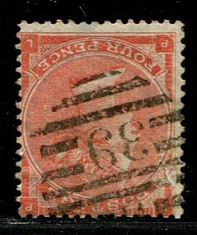 Iso-Britannia 1862 - 4 pence bright red with hairlines WATERMARK INVERTED - Stanley Gibbons 82Wi
