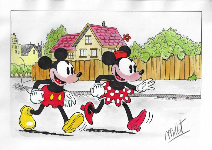 Classic Mickey & Minnie Mouse - Millet - Original Drawing