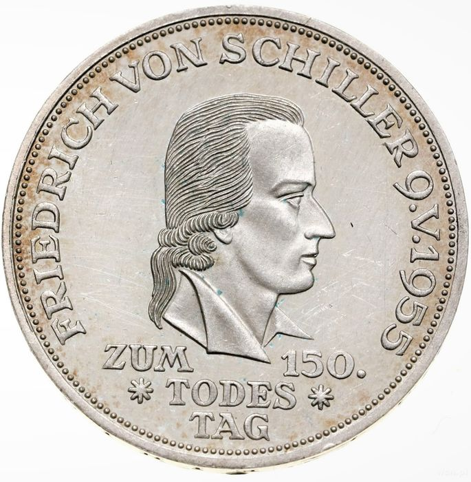 Germany. 5 Mark 1955 F Stuttgart - '150th Anniversary - Death of Friedrich von Schiller'